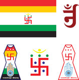Print. Jain Emblem, Flag, Swastica, Jainism is a spiritual, religious and philosophical tradition of Indian origin, Based on non violence or Ahimsa as preached Royalty Free Stock Image