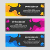 Banners Template wave yellow, pink, blue abstract black background vector stock illustration