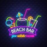 Beach bar. Summer holiday banner. Neon banner. Neon sign. royalty free illustration