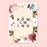 Blooming floral frame card illustration stock illustration