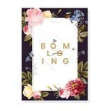 Blooming floral frame card illustration royalty free illustration