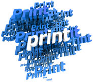 Print in blue. Blue and white 3D illustration with the word print repeated in different shades Royalty Free Stock Images