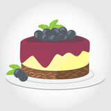 Print. Blue berry cheese cake Birthday cake with burning candles  on white background, Vector Illustration Stock Image