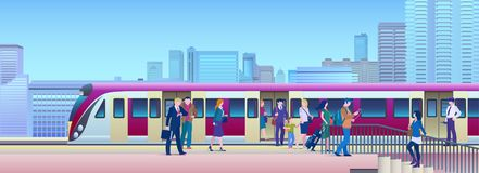 Boarding Train at the Railway Station with city on background Flat Vector Illustration. People get on train from platform stock photo