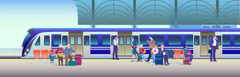 Boarding Train at the Railway Station - Flat Vector Illustration Background. People get on train from platform stock images