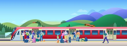 Boarding Train at the Railway Station with hills on background Flat Vector Illustration. People get on train from platform royalty free stock photo