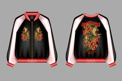 A print for a bomber or a swisshot with embroidery of Japanese carp koi and peony. Flowers. Patches are embroidered with sequins and beads. Vector illustration royalty free illustration