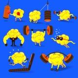 Print. Brain charactor design fitness for smart brain with dumbbell. Illustrate Set stock illustration