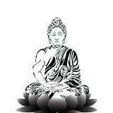 Load Buddha. Buddha Sitting On A Lotus Flower And Meditating In The Single Lotus Position. Intricate Hand Drawing Isolated On White Background. Tattoo Design stock illustration