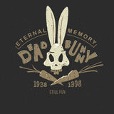 Print bunny skeleton. Funny vintage drawing for a tattoo or print on t-shirt or clothing: cartoon skull bunny skeleton Royalty Free Stock Images