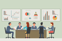 Print. Businesspeople, man and woman, talking, discussing in meeting room. With chart and graph statistics background. Diverse, muilti-ethnic, flat design Stock Photography
