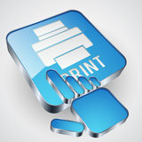 Print button. The print button with blue hand cursor Stock Photography