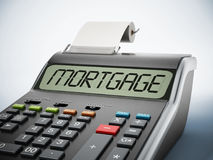 Print calculator with mortgage text on the screen. 3D illustration.  Royalty Free Stock Photo