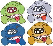 Print cartoon bear color doodle monster hand draw set funny scary vector illustration