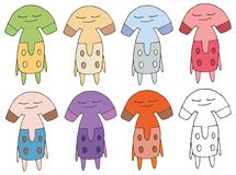 Print cartoon doodle alien cute happy monster hand draw color set royalty free illustration