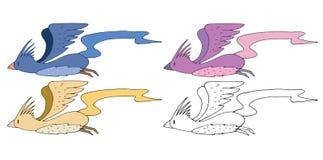 Print cartoon doodle bird color set hand draw monster funny royalty free illustration