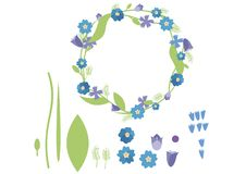 Print cartoon doodle color flat wreath set pack summer green blue stock illustration