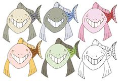 Print cartoon doodle fish shark monster color set hand draw happy royalty free illustration