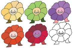 Print cartoon doodle monster color set happy flowers hand draw stock illustration