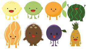 Print cartoon doodle summer color set citrus fruit flat stock illustration