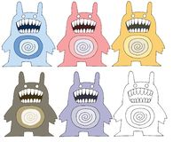 Print cartoon doodle scary funny monster color set hand draw royalty free illustration