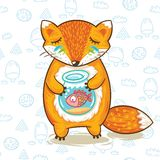 Print of cartoon fox with a little fish in Stock Images