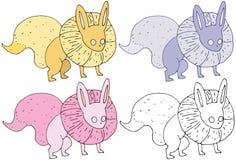 Print cartoon fox monster funny happy hand draw color set royalty free illustration