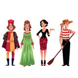 Print. Character from Italy dressed in the traditional way as a Venice gondolier eating pizza. Vector Illustration. Kids of the World Collection Stock Photo