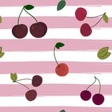 Print cherry pattern on striped background. Vector illustration. Berry textile summer color cover Royalty Free Stock Photography