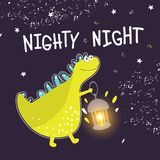 Print for children`s clothing, fabrics, postcards. Cute dinosaur with a lantern wishes good night. Vector illustration stock illustration