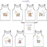 Print for children's t-shirts for 7 days - week has a series of 7 animals Royalty Free Stock Photo
