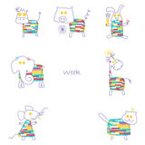 Print for children's week has a series of 7 animals Stock Photo