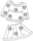Print clothes coloring page Royalty Free Stock Photos