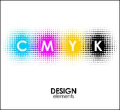 Print CMYK halftone dots design abstract elements. Print CMYK halftone dots design abstract Royalty Free Stock Photos