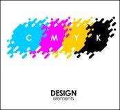 Print CMYK halftone dots design abstract elements. Print CMYK halftone dots design abstract Stock Illustration
