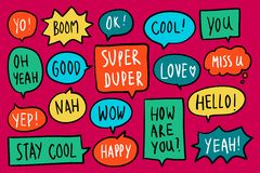Collection of colorful speech bubbles vector stock illustration