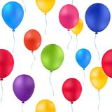 Print colorful balloons pattern. Vector birthday festive Royalty Free Stock Images