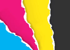Print Colors Ripped Paper Background Stock Photos