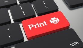 Print concept. Print button on black keyboard stock illustration