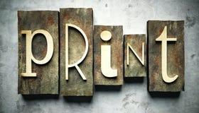 Print concept with vintage letterpress Stock Photos