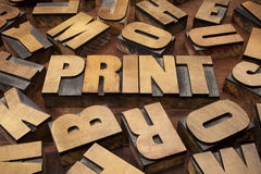 Print concept in wood type Stock Image
