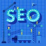 Print. Construction site crane building SEO text meanning search engine optimize, Vector illustration template design Stock Photo