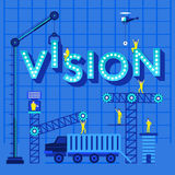 Print. Construction site crane building Vision text, Vector illustration template design Royalty Free Stock Photography