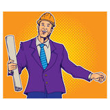 Print. Contractor Holding Blueprint - Isolated retro pop art style vector graphic illustration stock illustration