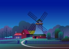 PrintCountryside night landscape with mill and farm on meadow, trees and forest on background - flat vector illustration stock photography