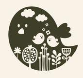 Print of cute cartoon bird. Royalty Free Stock Photos