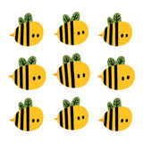Print with cute cartoon yellow bees Royalty Free Stock Photo