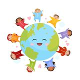 Cute children of different nationalities on the globe. vector illustration