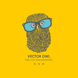 Print with cute and clever owl in glasses Royalty Free Stock Image
