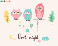 Print with cute owls and phrase Good night for children pajamas.  Stock Photo